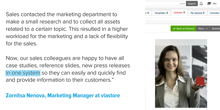 Picture describing how viastore uses DAM system to align sales and marketing department