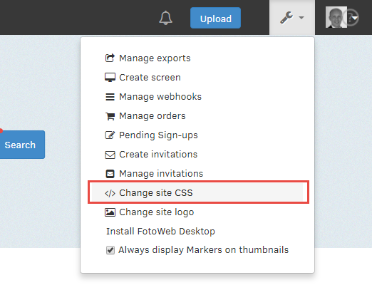 Tools menu - change CSS