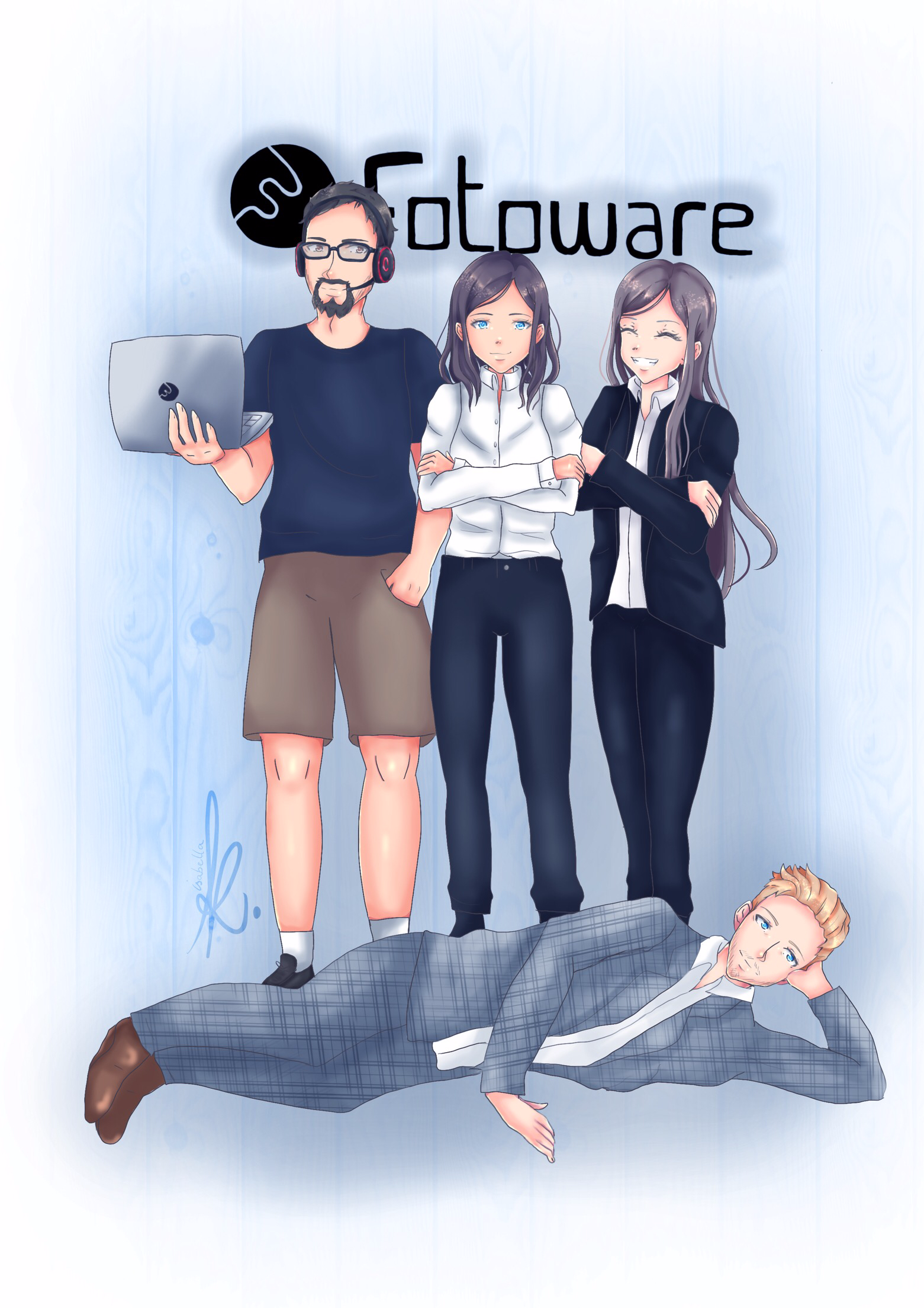 Isabella's drawing of some of the FotoWare team