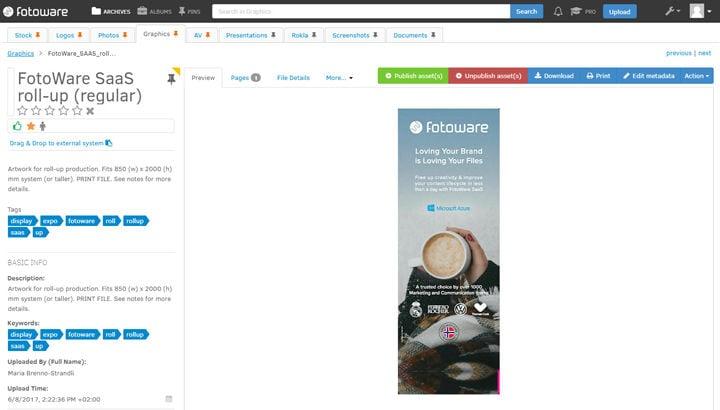 Screenshot of old marketing materials in FotoWare