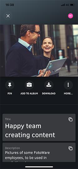 Preview files in FotoWare Mobile App