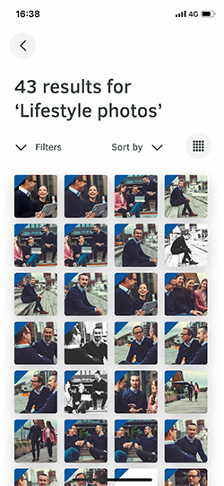 Search for files in FotoWare mobile app