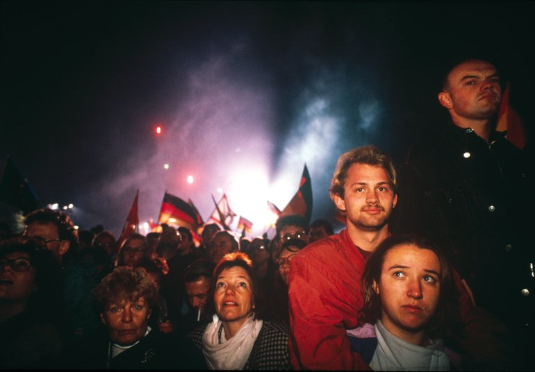 Fireworks light the Berlin sky on the eve of a nation's reunification – 46 years