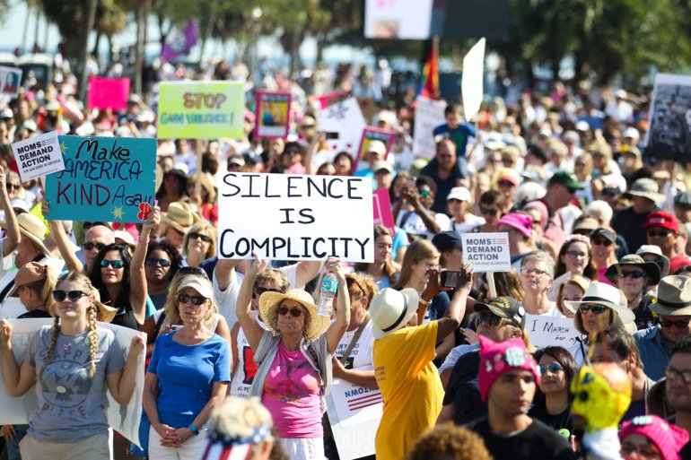 St. Petersburg, Florida, January 21, 2017:  Demonstrators rally at Demens Landing Park before the Women's Solidarity March St. Pete in downtown St. Petersburg. St. Petersburg Police said 20,000 participated in the event, which made this sister event to the Women's March on Washington the largest demonstration ever held in St. Petersburg.