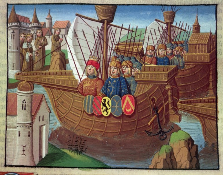 The Crusaders returning from the Holy Land, miniature in the incunable Ogier le Danois, printed by A. Verard, Paris, 1499, Italy. Piamonte Turin