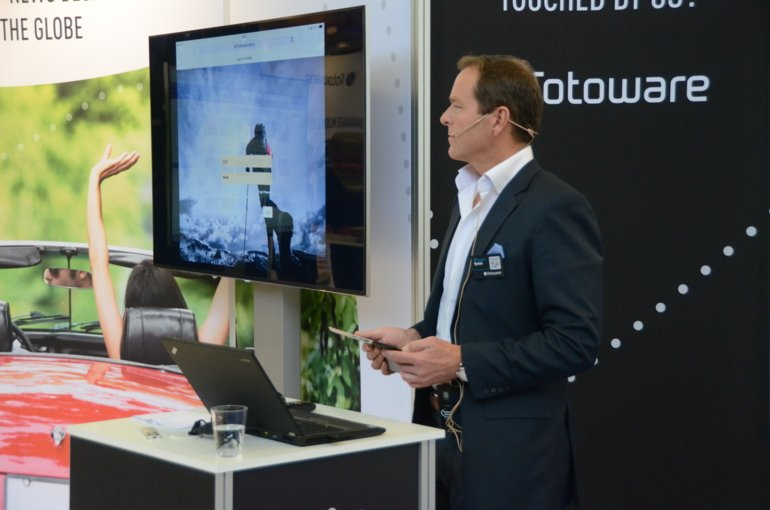 Øystein Syversen presenting FotoWare in the World Publishing Expo 2016 in Amsterdam