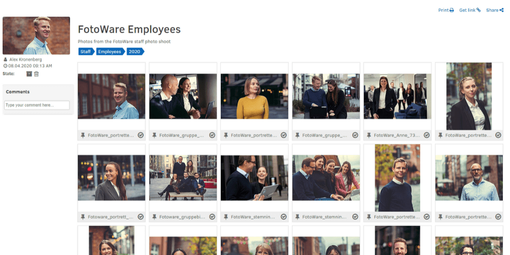 How to share files in FotoWare - an album with photos of employees